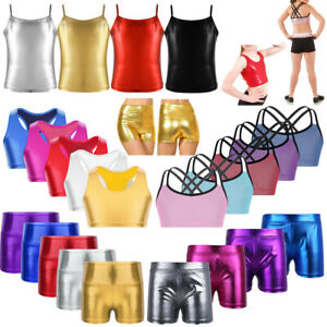 Kid-Girl-Gymnastics-Jazz-Dance-Outfits-Metallic-Shiny-Crop-Tops-Shorts-Dancewear