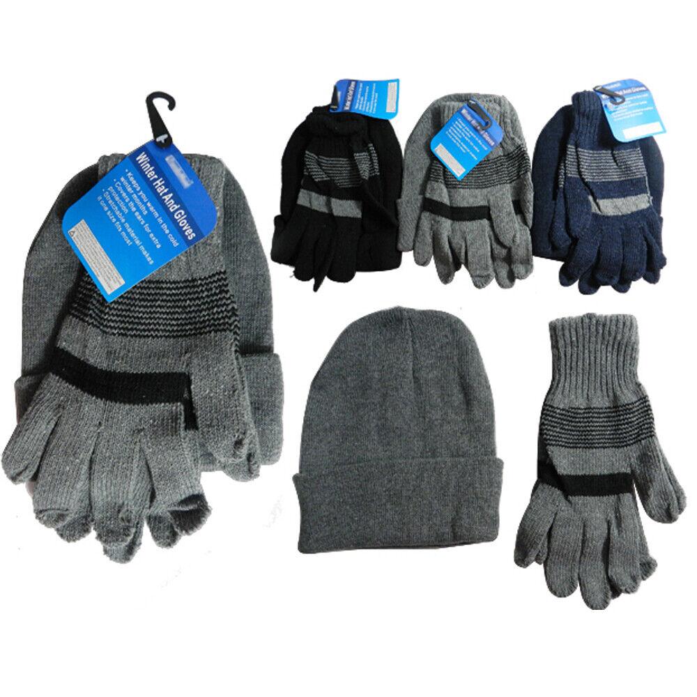 1 Herren Hut Handschuhe Set Winter Ski Totenkopf Mütze Schnee Kälte Unisex Warm