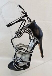 cuir Up Sandals en Lace Ankle Chaussures Stiletto noir Womens Tie Bebe 7m Open Toe qPtdSxSwp