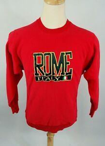 Vintage-Rome-Italy-Reverse-Weave-Gusset-Sweatshirt-80s-Red-USA-M-Racing
