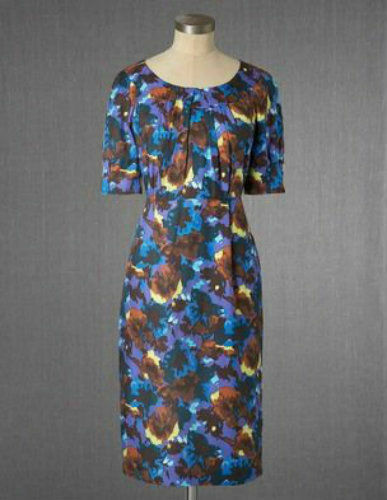 ex Boden Abstract Print Pleat Neck Wiggle Silk Blend Occasion Party Shift Dress
