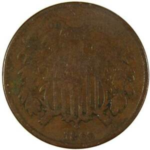 1866 Two Cent Piece AG About Good Bronze 2c US Type Coin Collectible