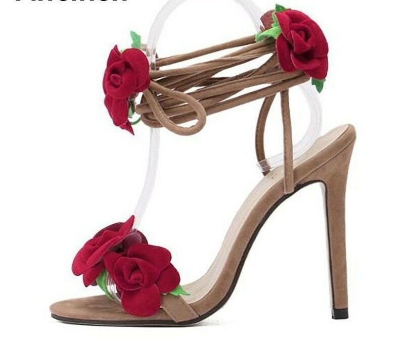 Red Flower Women shoes Lace Up Summer High Heels Wedding Party Solid Sandals New