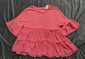 Kidpik-coral-tiered-ruffle-3-4-sleeve-top-blouse-girls-XXL-16-NWT