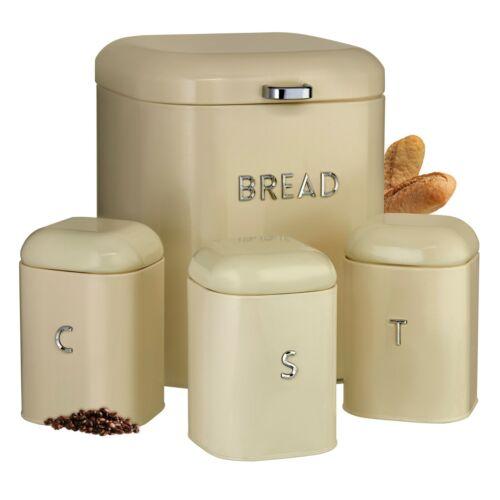 Cooks Professional 4 Kitchen Canister Set Tea Coffee Sugar Bread Bin Storage Tin