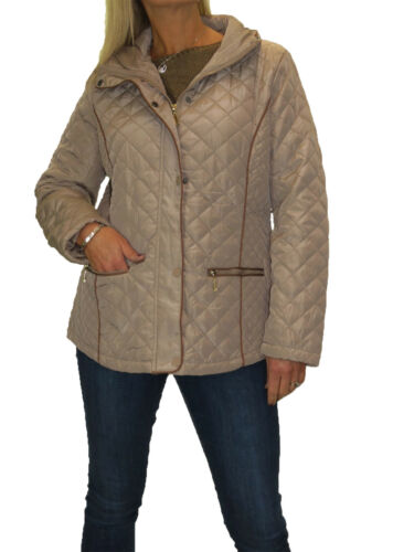 Size Beige Plus Hood Diamond 12 22 Ny Quilted Polstret Let Jakke UcppqBd