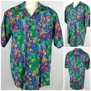 Comfort-Zone-USA-Made-Hawaiian-Shirt-Vivid-Bird-of-Paradise-amp-Iris-XL-24-034-Pit2Pit