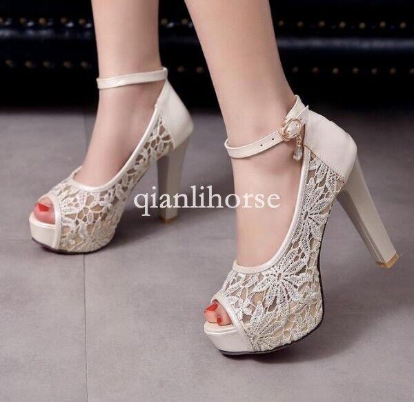 Summer Womens Peep Toe Platform Ankle Strap High Heel Stilettos Party Sandals Sz