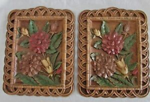 Syroco-Wood-Wall-Plaques-Pretty-Floral-Design-Scalloped-Edge-Pair-Vintage