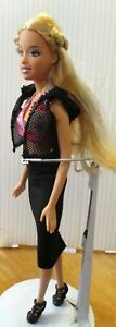 Ladies-Barbie-Doll-black-skirt-black-shoes-shorts-pink-top-amp-brush
