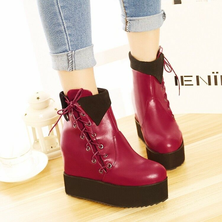 Women Round Toe Lace Up Hidden Wedge Heels Platform Ankle Boots Creepers shoes