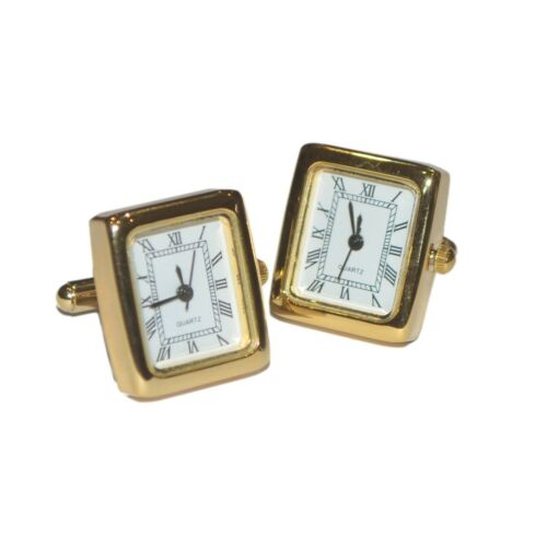 Gold Plated Roman Numerals Real Working Square Clock Cufflinks Boxed NC001-XCBOX