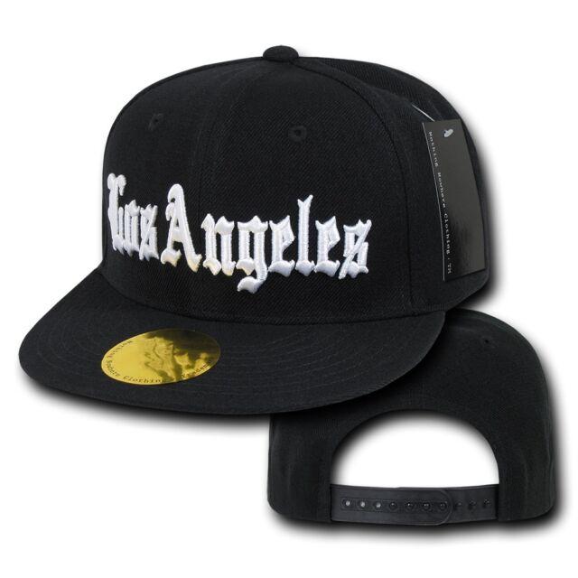 Black Los Angeles Vintage LA California Flat Bill Snapback Snap Back Cap Hat a1166ad88ee