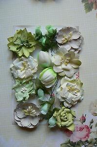 PISTACHIO-GREEN-amp-CREAM-9-Styles-16-PAPER-Flowers-15-55mm-across-MH-ConC