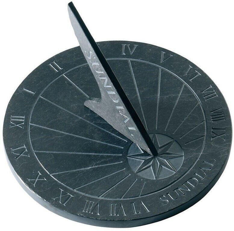 Sundial Slate Round Black Grey 25cm Roman Numerals Time Keeping Garden Clock