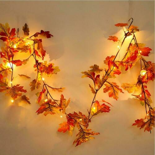 Halloween 1.5M LED Lighted Fall Autumn Pumpkin Maple Garland Leaves U9O8