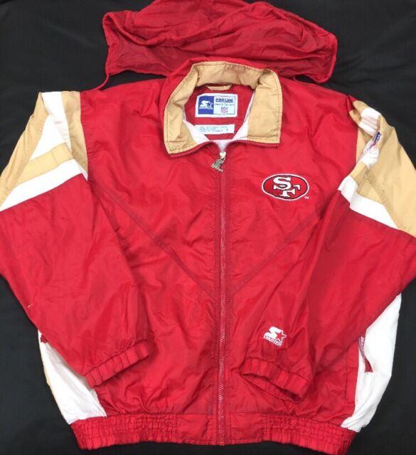 VTG 90's Starter Pro Line San Francisco 49ers NFL Windbreaker Hooded Jacket SZ L
