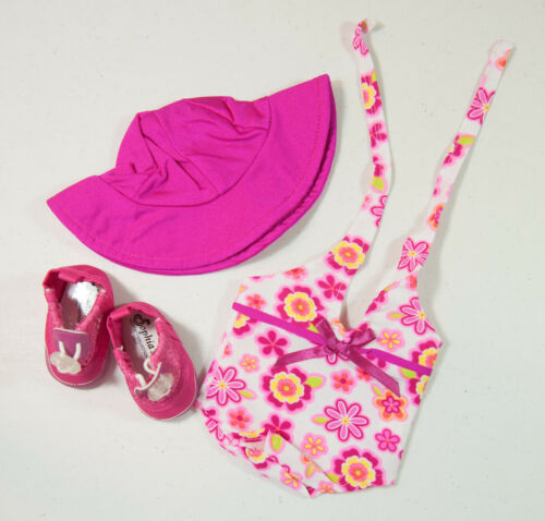 "New Sophia's Outfit Pink Floral Swimsuit, Hat & Shoes for 18"" Doll 8+ NIP"
