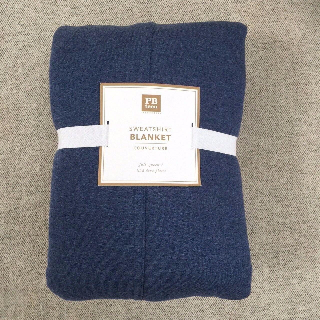 Pottery Barn Teen Sweatshirt Blanket Queen navy Jersey weave