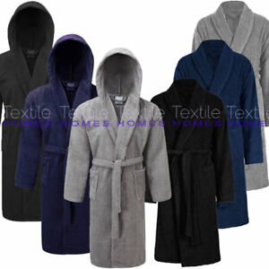 Mens Bath Robe 100% Cotton Terry Towelling Spa Dry Dressing Gown ... 60db2948f