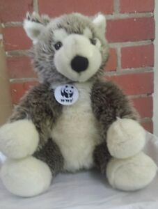 Build A Bear Gray Timber Wolf WWF World Wildlife Fund Plush Stuffed Animal BABW