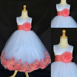 60ef398cd46 Coral Rose Petal Dress White Satin Tulle Flower Girl Wedding Summer ...
