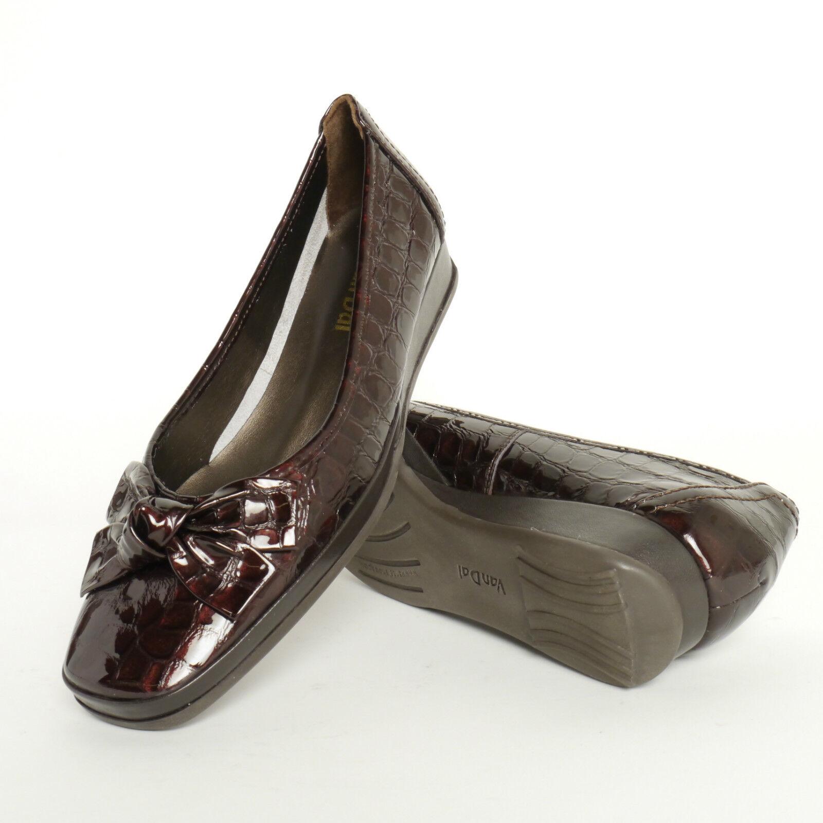 Ladies Van Dal Slip On Shoes In Brown Patent Croc Leather 'Barbados ll' D Width