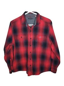 Woolrich-Mens-Long-Sleeve-Button-Down-Plaid-Flannel-Shirt-Red-Black-Size-XL