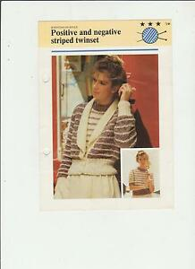 Vintage-Knitting-Pattern-Positive-amp-Negative-striped-Twinset-32-38in-fol-30