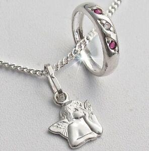 Baby Taufkette Taufring Kreuz Kette Echt Silber Rosa Mädchen Rot Taufschmuck 925