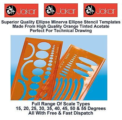Ellipse Drawing Technical Stencil Template 15,20,25,30,35,40,45,50 /& 55 Degrees