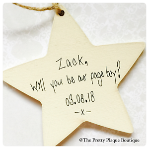 Personalised Star Plaque Any Words Will You Be My Page Boy Wedding