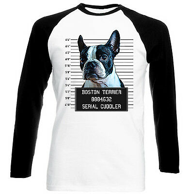 Clothes, Shoes & Accessories Activewear New Black Sleeved Baseball Cotton Tshirt Warm Und Winddicht 100% Wahr Boston Terrier Mugshot