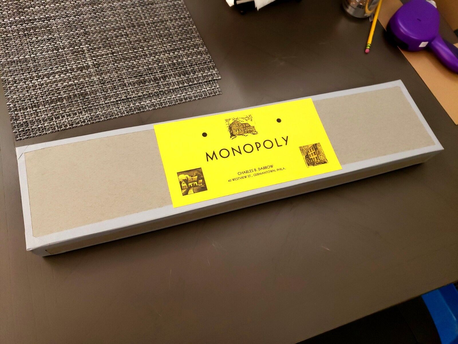 Darrow Tie Box Oilcloth 1933 Style Reproduction Monopoly Game Set