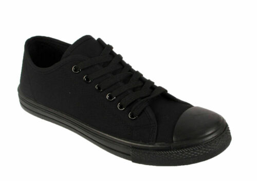 New Ladies Sports Womens Girls Black Back to School Lace Sneakers Trainers Shoes