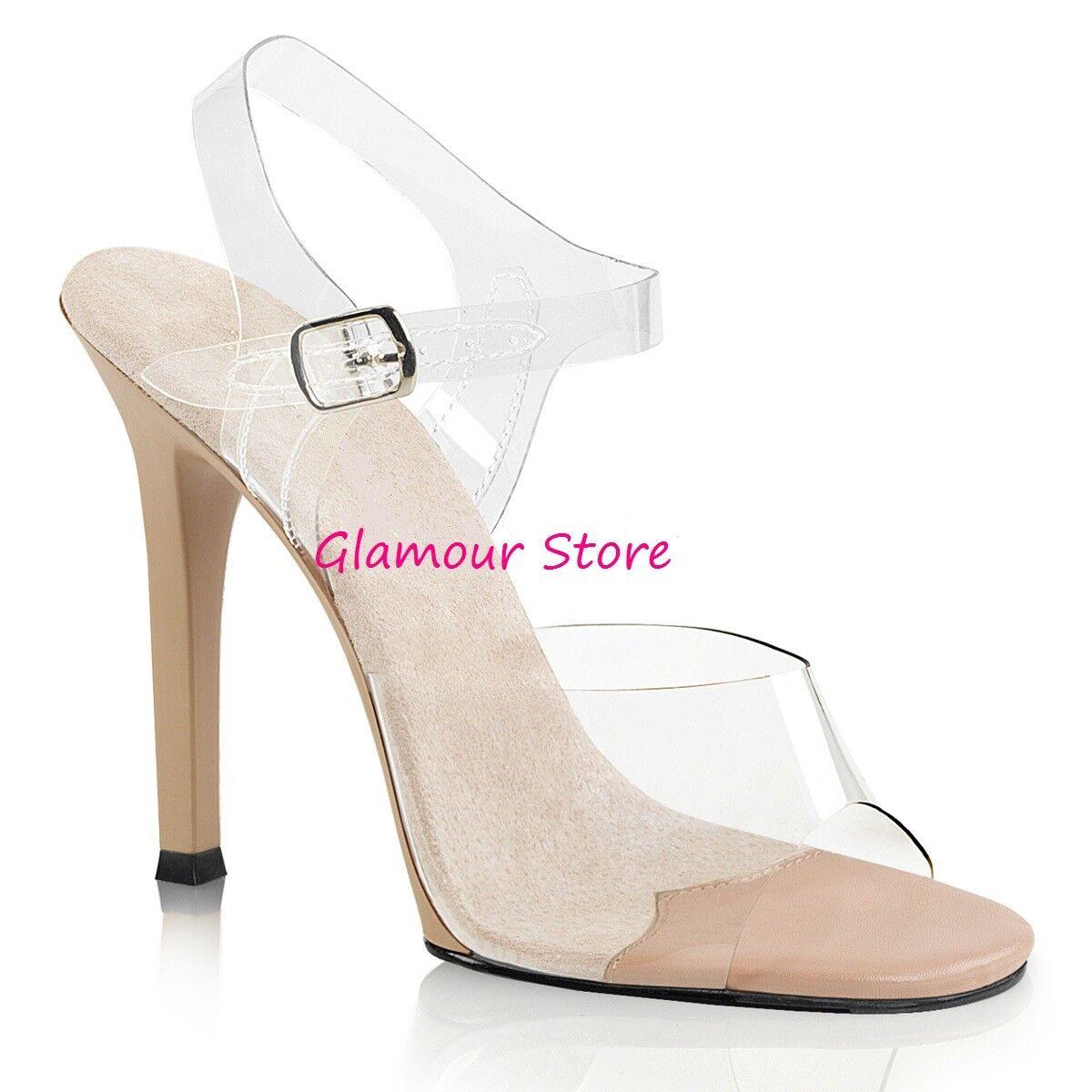 Sexy SANDALI tacco 11,5 dal 35 a 41 scarpe TORTORA/TRASPARENTE cinturino scarpe 41 GLAMOUR 6a5aa0