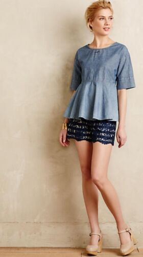 NEW Anthropologie Scalloped Lacework Shorts in Navy Size 4