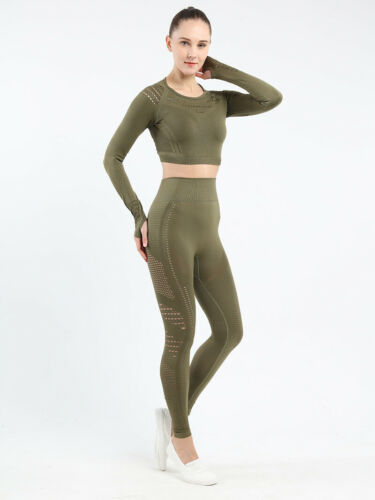 Seamless Women Gym Workout Sport Suit Long Sleeve Crop Top And Leggings Yoga Set