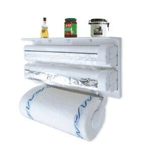 Kitchen Paper Dispenser Triple Cling Film Wrap Aluminium