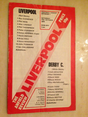 1975/76 League Programme: LIVERPOOL v DERBY COUNTY - 25th October