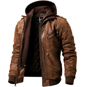 Details About Mens Leather Jackets Casual Motorcycle Pu Detachable Hoodie Leather Bomber Coats