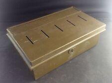 Vintage Green Tin & Enamel Cash Box Money Bank 5 slots Compartments c1940s