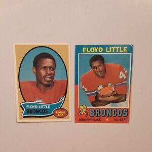 1970 and 1971 Topps Floyd Little lot Denver Broncos HOF (EX)