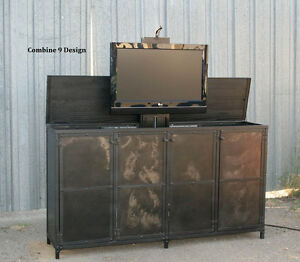 Details About Tv Lift Cabinet Vintage Industrial Style Modern Urban Motorized Tv Stand