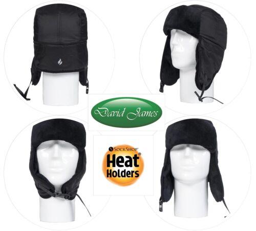Mens Heat Holders Heat Weaver Winter Warm Thermal Black Aviator Hat