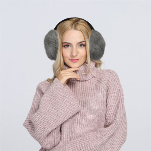 Women Soft Real Rabbit Fur Ear Muffs Winter Earmuffs Earwarmers Earband Fold