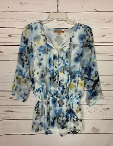 ELLEN TRACY Women's XS Extra Small Blue Floral 3/4 Sleeves Spring Summer Top