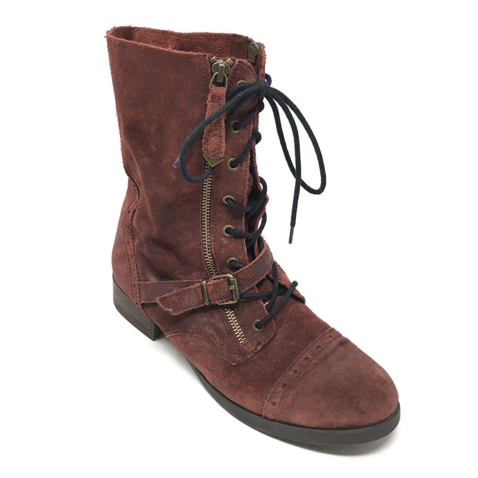 Women's Aldo Combat Boots shoes Size 39 EU 8.5M US Maroon Suede Ankle Casual Q10