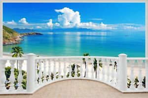 Huge-3D-Balcony-Exotic-Ocean-Beach-Wall-Stickers-Decal-Wallpaper-S85