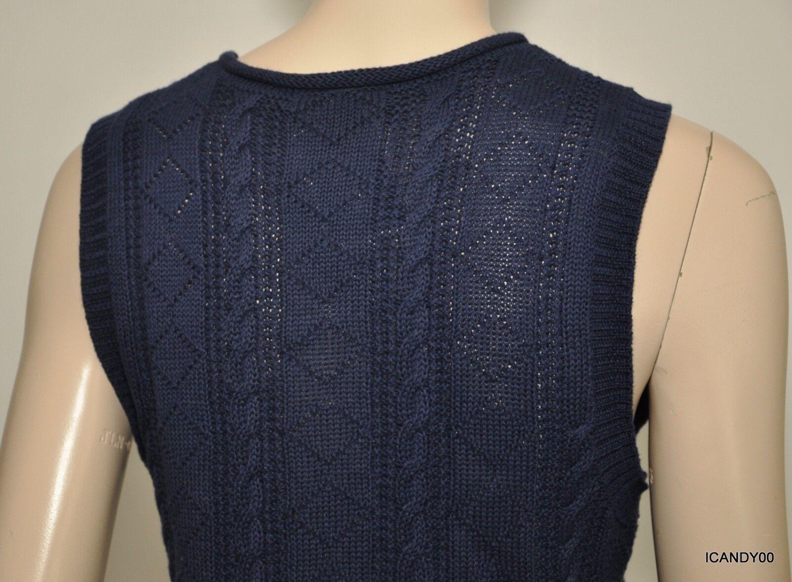 Nwt  99 99 99 Ralph Lauren Linen Cotton Knit Anchor Vest Top Sweater Top Navy bluee L 908fd9